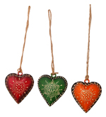 Set of 3 Handpainted Iron Heart Decoration